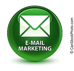 E-mail marketing glassy soft green round button