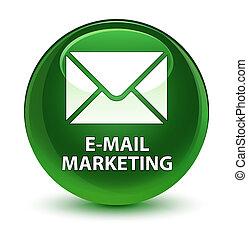 E-mail marketing glassy soft green round button