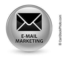 E-mail marketing glassy white round button