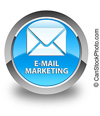 E-mail marketing glossy cyan blue round button