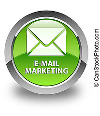 E-mail marketing glossy green round button
