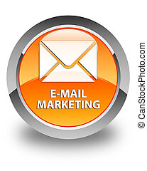 E-mail marketing glossy orange round button