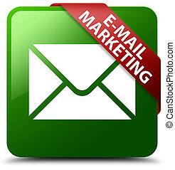 E-mail marketing green square button red ribbon in corner