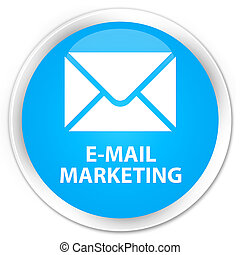 E-mail marketing premium cyan blue round button
