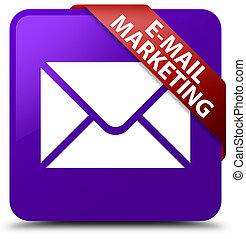 E-mail marketing purple square button red ribbon in corner