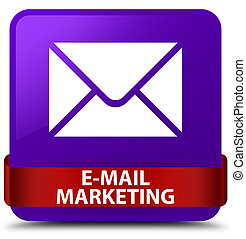 E-mail marketing purple square button red ribbon in middle