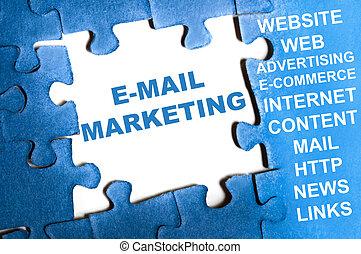 E-mail marketing puzzle - E-mail marketing blue puzzle...
