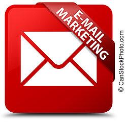 E-mail marketing red square button red ribbon in corner