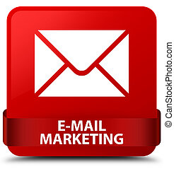 E-mail marketing red square button red ribbon in middle