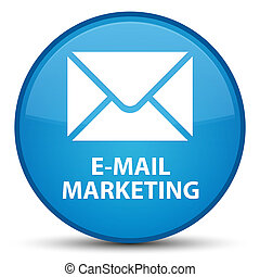 E-mail marketing special cyan blue round button