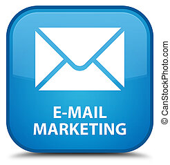 E-mail marketing special cyan blue square button