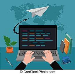 e-mail marketing, vector illustration