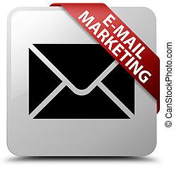 E-mail marketing white square button red ribbon in corner