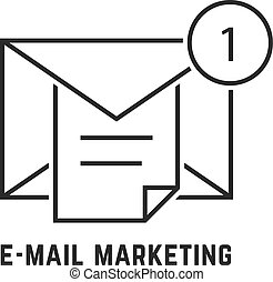 e-mail marketing with thin line notice