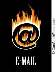 e-mail, monter, flammes, icône