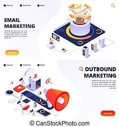 E-mail, outbound, internet marketing vector landing pages ...