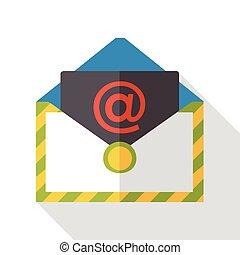 e-mail, plat, business, icône