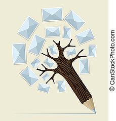 e-mail, potlood, concept, boompje