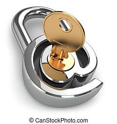e-mail, protection., hos, idet, lås, og, key.