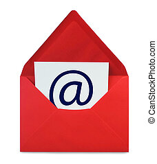 E-Mail, red envelope with web adress symbol, isolated on...