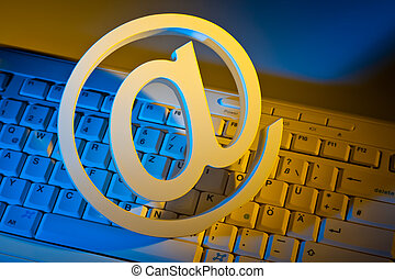 e-mail, señal, y, computadora, keyboard.
