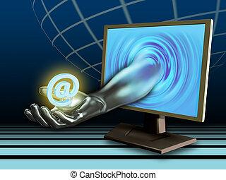 E-mail service - Hand holding an e-mail symbol. Digital...