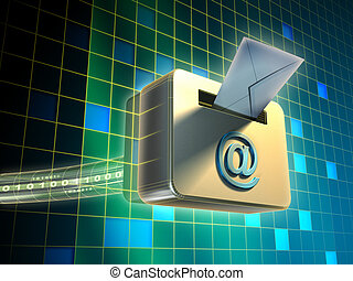 E-mail service - Traditiona mail envelope being posted in an...