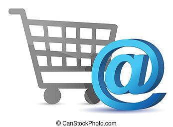 E-mail sign an shopping cart illustration design over white