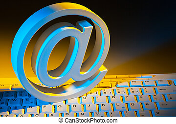 e-mail sign and computer keyboard. - the e-mail characters....