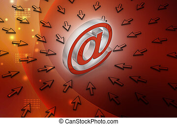 e-mail sign with  mouse pointer