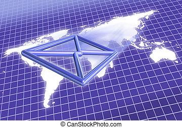 e-mail, sobre, mapa del mundo
