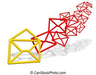 e-mail, sobre, símbolos, fluir, en