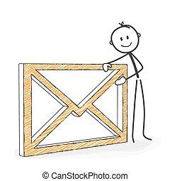 e-mail., stickman, figura, -, koperta, wtykać, symboliczny, ...