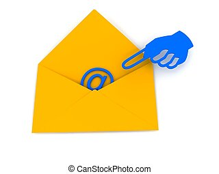 e-mail, sur, enveloppe, blanc, signe