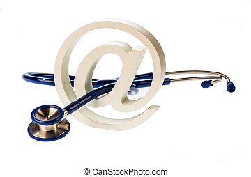e-mail symbol and stethoscope - an e-mail sign and a ...
