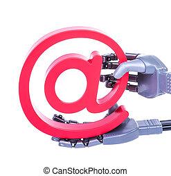 e-mail, symbol, roboter, künstliche hand