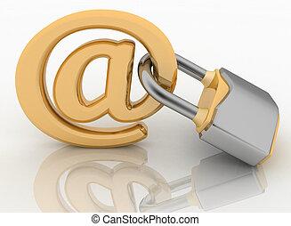 E-mail symbol with lock - E-mail symbol with lock. Internet...