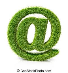 e-mail, symbole, concept, herbe, couvert