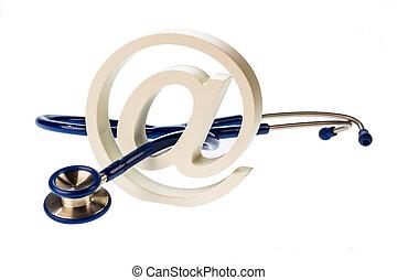 e-mail, symbole, stéthoscope