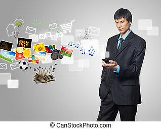 e-mail, telefon, beweglich, schirm, multimedia, symbole, strömend, geschäftsmann, berühren, gebrauchend, bilder
