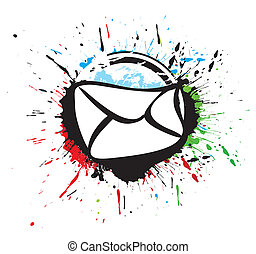 e-mail vector icon in black and white grunge ink splate,...