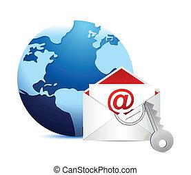 e-mail, weißes, begriff, hintergrund