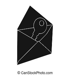 E-mail with key password icon in black style isolated on white background. Hackers and hacking symbol stock bitmap, rastr illustration.