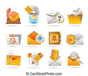 e-mail, y, mensaje, iconos