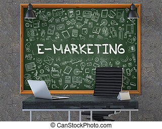 E-Marketing on Chalkboard with Doodle Icons. 3D.