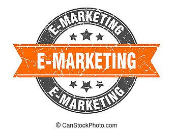 e-marketing round stamp with ribbon. label sign