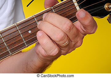Finger position for a E Minor guitar chord