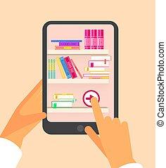 e, mobile, concept., congegni, vettore, illustrazione, linea, lettura, tecnologia, libro, hands.