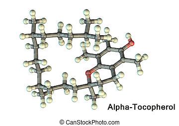 e, modell, molekular, alpha-tocopherol, vitamin
