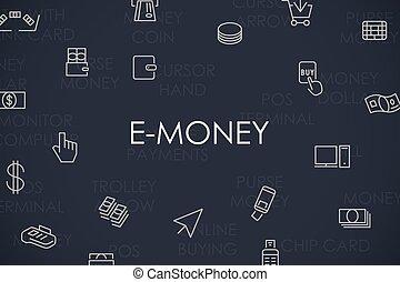 E-Money Thin Line Icons